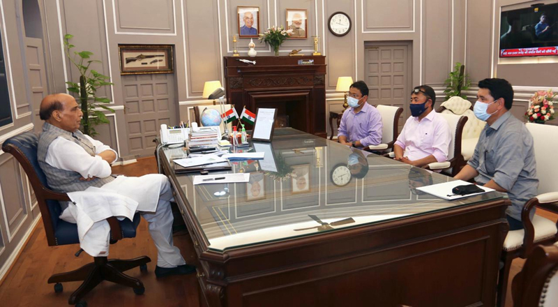 Leh delegation in a meeting with Defence Minister Rajnath Singh in New Delhi on Wednesday.