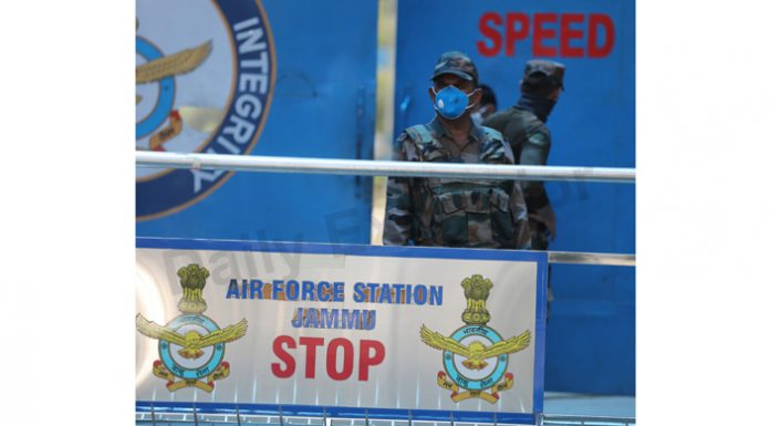 Security personnel on high alert at IAF Station in Satwari on Tuesday. —Excelsior/Rakesh