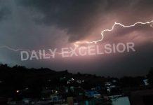 Lightning during rains in Mendhar town on Friday night. —Excelsior/Rahi Kapoor