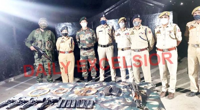 Arms and ammunition recovered in Thannamandi area of Rajouri district on Friday.