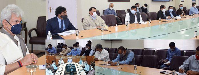 Lieutenant Governor, Manoj Sinha chairing a meeting of the Administrative Secretaries in Srinagar on Monday.