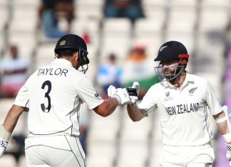 Ross Taylor and Kane Wiliamson celebrating emphatic win over India in WTC final on Wednesday.