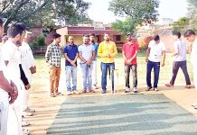 Chief guest Sham Singh Langeh interacting teams' players during inaugural match at Akhnoor.