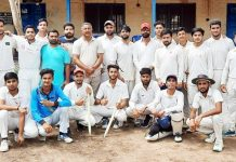 Winning team posing for group photograph at Akhnoor.