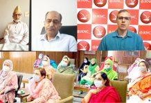 NC vice president Omar Abdullah speaking in a virtual meeting of party leaders in Kashmir.
