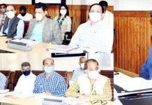 Chief Secretary Dr Arun Kumar Mehta chairing a meeting on Thursday.
