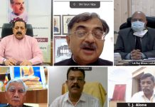 Union Minister Dr Jitendra Singh speaking at a national webinar to mark the death anniversary of Dr Syama Prasad Mookerjee, on Wednesday.