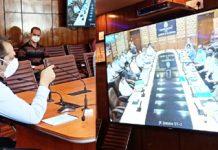 Advisor Baseer Khan chairing a meeting through video conferencing from Srinagar on Thursday.
