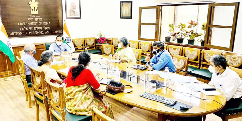 Union Minister Dr Jitendra Singh chairing a meeting of senior officers of the Department of Personnel & Training (DoPT) at North Block, New Delhi,on Tuesday.