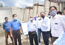 Officers from J&K and Punjab inspecting Shahpur Kandi Dam Project on Wednesday.