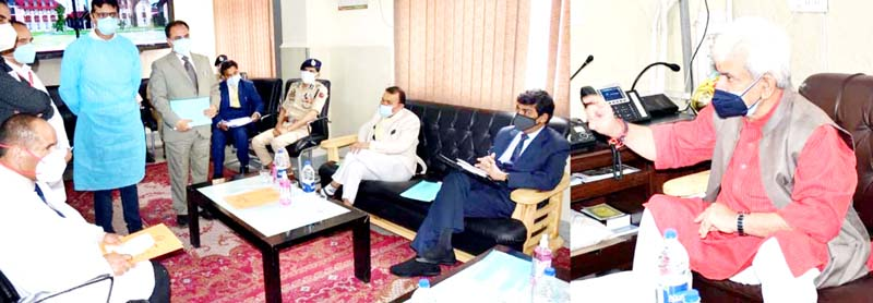 Lt Governor chairing a meeting at Anantnag on Tuesday.