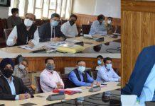 Chief Secretary, Dr Arun Kumar Mehta chairing a meeting on Tuesday.