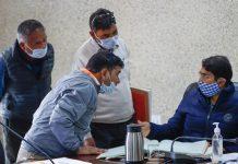 Div Com Ladakh Saugat Biswas talking meeting of Revenue officials of Leh.