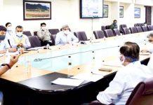 Lieutenant Governor, Manoj Sinha chairing a meeting on Friday.