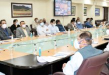 LG Manoj Sinha chairing a meeting in Srinagar.