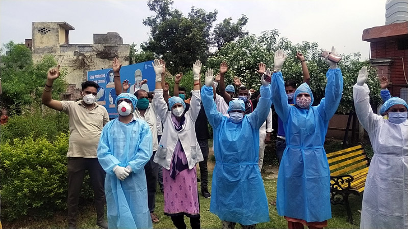 HDF employees during protest demonstration at SDH Akhnoor in Jammu.