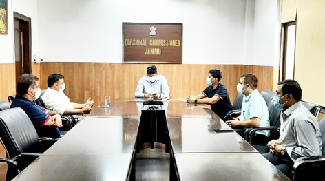 JCCI members at a meeting with Divisional Commissioner Dr Raghav Langar in Jammu on Thursday.