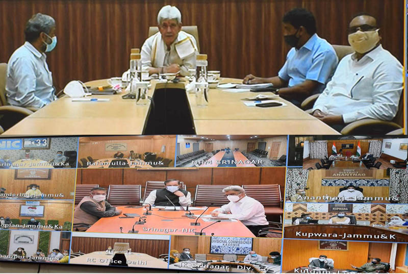 Lt Governor Manoj Sinha chairing COVID reivew meeting on Friday.