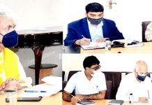 LG Manoj Sinha chairing a meeting at Srinagar on Thursday.
