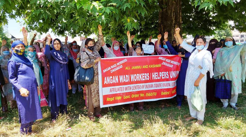Anganwadi workers protesting in Anantnag on Wednesday.