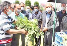 MP Dr Farooq Abdullah during visit to organic vegetable outlet in Lalmandi, Srinagar on Saturday.