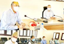 NC vice president Omar Abdullah chairing a meeting of party's constituency in-charges of Baramulla district.