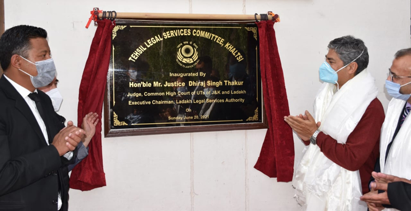 Justice Dhiraj Singh Thakur inaugurating Tehsil Legal Services Committee at Khaltsi on Sunday.