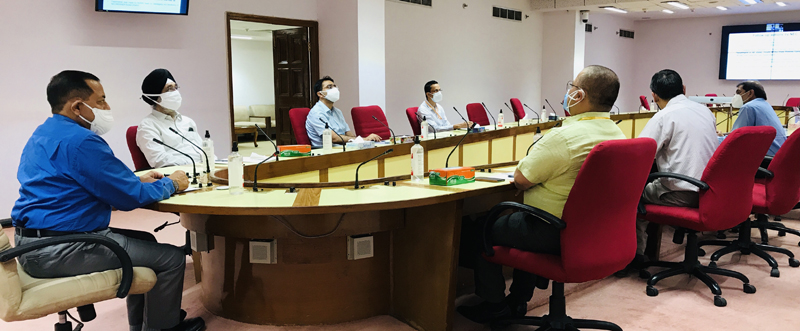 Union Minister Dr Jitendra Singh chairing a high level meeting with senior officers of the Ministry of Northeast and ISRO scientists to work out Space technology applications for development projects in the region, on Wednesday.