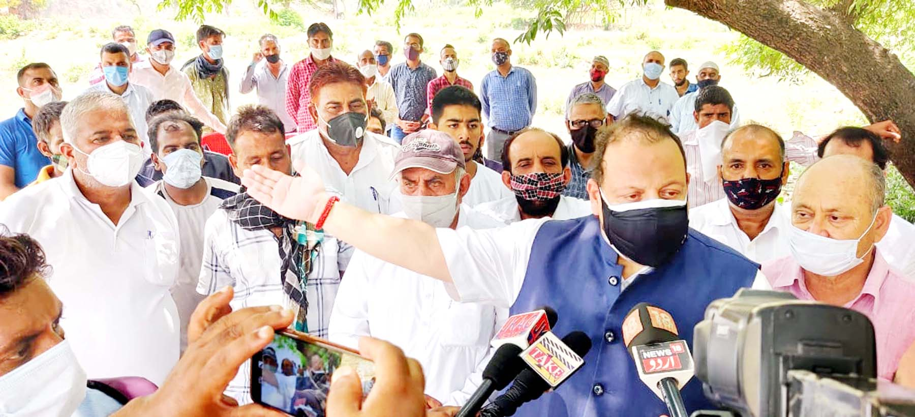 NC Provincial President interacting with media persons in Jammu on Thursday.