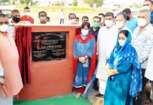 MP, Jugal Kishore Sharma kick starting work of water supply scheme at Rampur village on Monday. — Excelsior/Nischant