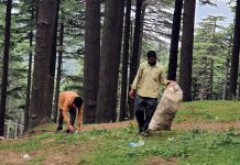 PDA staff clearing plastic and polythene in Patnitop on Friday.
