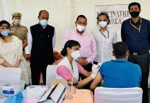 Union Minister Dr Jitendra Singh visiting exclusive Vaccination Camp organised for the employees of Department of Pensions and Department of Administrative Reforms and Public Grievances at Civil Services Officers' Institute(CSOI), Chanakyapuri, New Delhi, on Thursday.