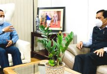 Former Chief Minister of Assam, Sarbananda Sonowal calling on Union Minister Dr Jitendra Singh, on Saturday.