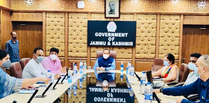 Union Minister Dr Jitendra Singh presiding over a high level meeting to review the COVID vaccination drive at Civil Secretariat, Jammu on Sunday.