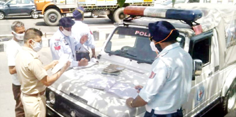 Traffic cops during special drive.
