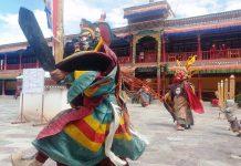 A monk performing mask dance during Hemis Festival at Leh on Sunday. —Excelsior/Morup Stanzin