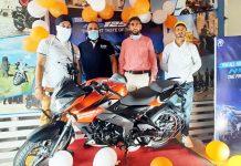 Officials of Jammu Bajaj launching New Bajaj Pulsar NS 125.