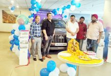 ARTO Udhampur Jugal Kishore Sharma and others on the launch of Hyundai Alcazar at Devika Hyundai, Udhampur.