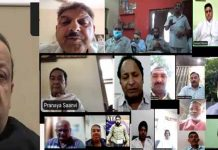 NC provincipal president Devender Singh Rana interacting with party functionaries through virtual mode.