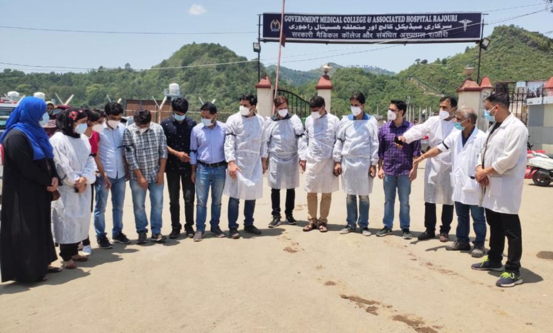 Doctors staging black-band protest at the entrance gate of GMC Poonch.