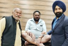 Dr Ranjit Singh posing with a patient on whom he performed knee replacement surgery.