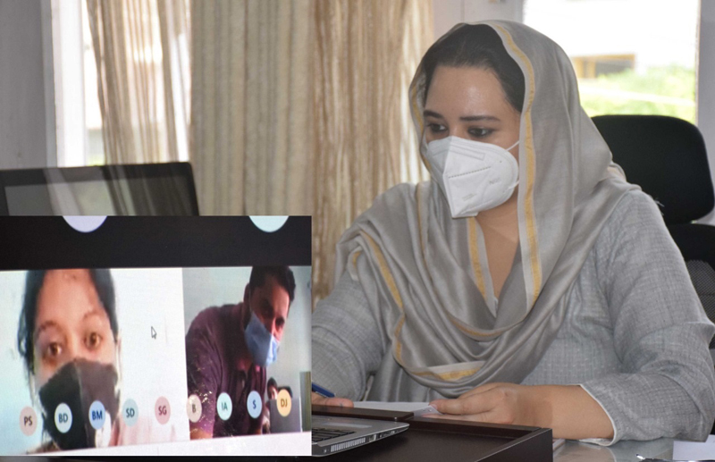 Mission Director JKRLM, Dr Syed Sehrish Asgar chairing a meeting through video conferencing on Wednesday.