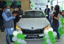 Dignitaries during launch of all new Skoda Octavia at Wheelocity Motors Jammu on Friday.