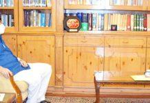 Lt Governor with DDC Chairperson, Baramulla Safina Baig & former DyCM Muzaffar Hussain Baig.
