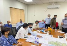 Div Com Jammu reviewing pace of worker in AIIMS Jammu.