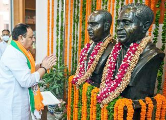 BJP National President J.P. Nadda pays tribute to Dr. Syama Prasad Mookerjee on his death anniversary at BJP HQ, in New Delhi on Wednesday.
