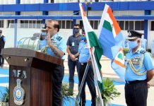 Air Chief Marshal RKS Bhadauria, PVSM, AVSM, VM, ADC, addressing a press conference Air Force Academy, Dundigal, Hyderabad on Saturday. (UNI)