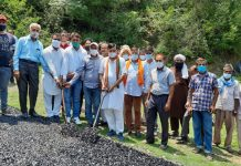 DDC chairman Kathua, Col Mahan Singh kick-starting road work in Sabar colony, Mahanpur in Kathua on Sunday. —Excelsior/Pardeep