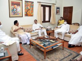NCP supremo Sharad Pawar presiding over the party's office bearers meeting at 6 Janpath, in New Delhi on Tuesday. (UNI)