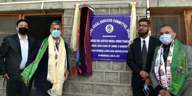 Justice Dhiraj Singh Thakur inaugurating TLSC at Drass on Wednesday.